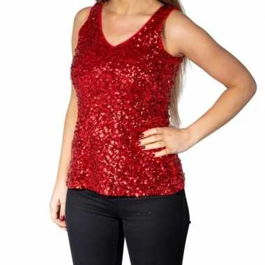 Goedkoop rode glitter pailletten disco topje/ mouwloos shirt dames ca
