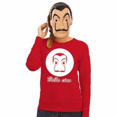 Goedkoop rode salvador dali sweater la casa papel masker dames carnav