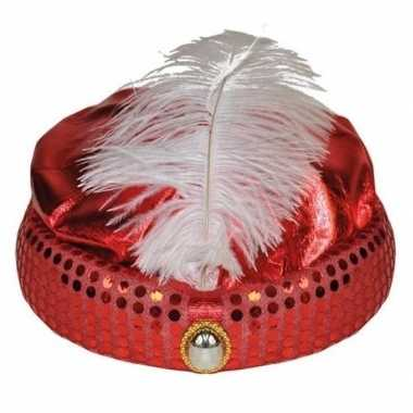 Goedkoop rode tulband lange witte veer carnavalskleding