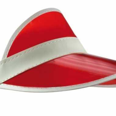 Goedkoop rode zonneklep witte randen carnavalskleding