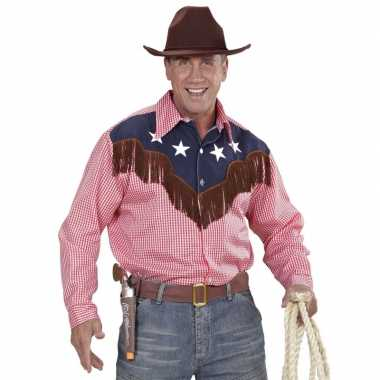 Goedkoop rodeo rood geruite shirt heren carnavalskleding