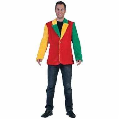 Goedkoop rood, geel, groen harig colbertje mannen carnavalskleding