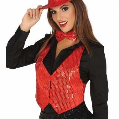 Goedkoop rood gilet glitters/pailletten dames carnavalskleding