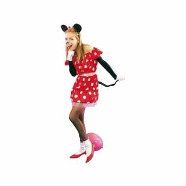 Goedkoop rood muizen jurkje vrouwen carnavalskleding