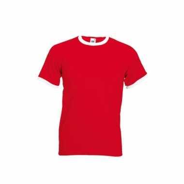 Goedkoop rood ringer t shirt witte contrast kleur carnavalskleding