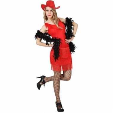 Goedkoop rood wilde westen jurkje dames carnavalskleding