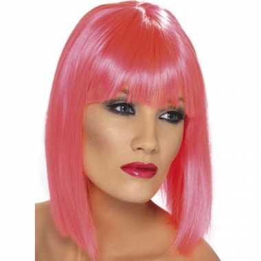 Goedkoop roze dames pruiken kort stijl haar carnavalskleding