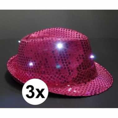 Goedkoop roze glitter hoedjes led licht stuks carnavalskleding
