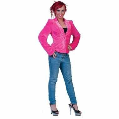 Goedkoop roze harig colbertje vrouwen carnavalskleding