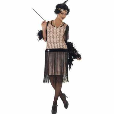 Goedkoop roze jaren flapper jurk dames carnavalskleding