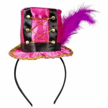 Goedkoop roze mini hoedje diadeem carnavalskleding