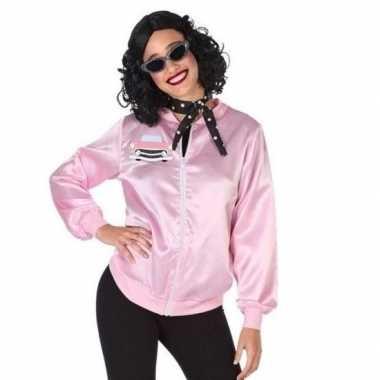 Goedkoop roze rock and roll verkleed jasje dames carnavalskleding