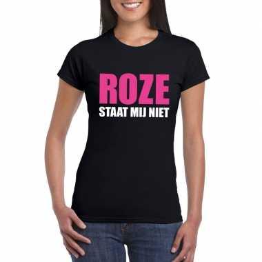 Goedkoop roze staat mij niet toppers t shirt zwart dames carnavalskle
