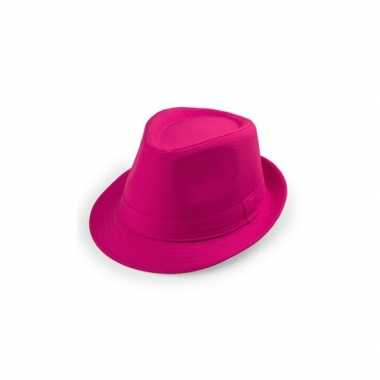 Goedkoop roze trilby hoeden carnavalskleding