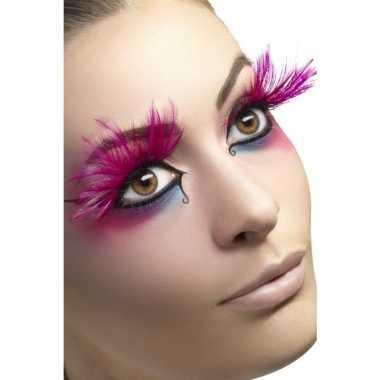 Goedkoop roze veren nepwimpers carnavalskleding