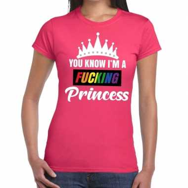 Goedkoop roze you know i am a fucking princess gay pride t shirt dame