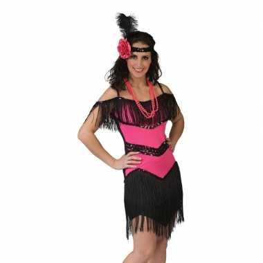 Goedkoop roze/zwart jaren jurkje dames carnavalskleding