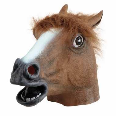 Goedkoop rubberen paarden maskers bruin carnavalskleding
