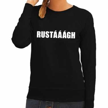 Goedkoop rustaaagh tekst sweater / trui zwart dames carnavalskleding