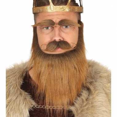 Goedkoop set baard, snor wenkbrauwen bruin carnavalskleding