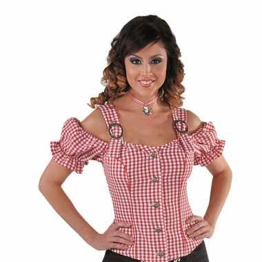 Goedkoop sexy cowgirl blouse rood off shoulder carnavalskleding