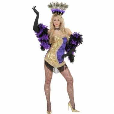 Goedkoop showgirl carnavalskledings paars goud