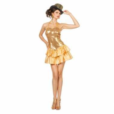 Carnavalskleding Dames Jurkje.Goedkoop Showgirl Jurkje Pailletten Dames Goud Carnavalskleding