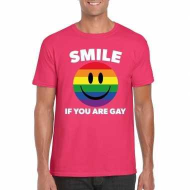 Goedkoop smile if you are gay emoticon shirt roze heren carnavalskled