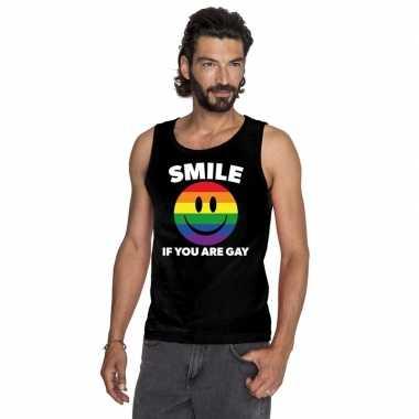 Goedkoop smile if you are gay emoticon tanktop/ singlet shirt zwart h