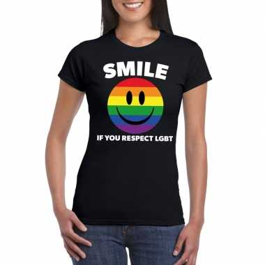 Goedkoop smile if you respect lgbt emoticon shirt zwart dames carnava