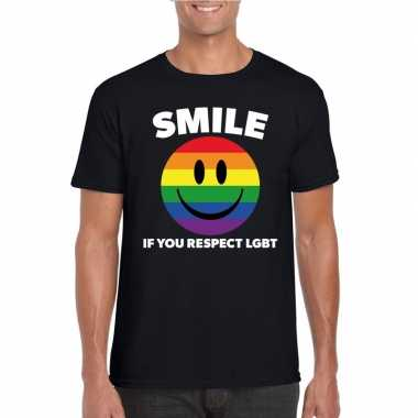 Goedkoop smile if you respect lgbt emoticon shirt zwart heren carnava