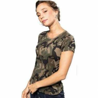 Goedkoop soldaten / leger carnavalskleding camouflage shirt dames