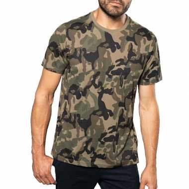 Goedkoop soldaten / leger carnavalskleding camouflage shirt heren