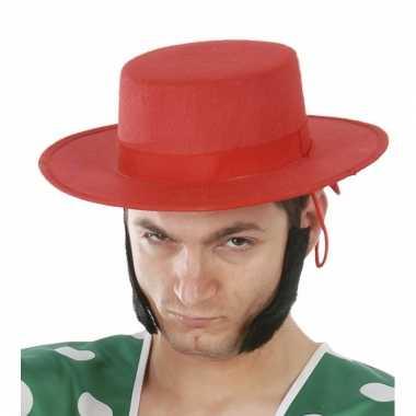 Goedkoop spaanse heren hoed rood carnavalskleding