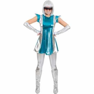 Goedkoop space verkleed carnavalskleding blauw/zilver dames