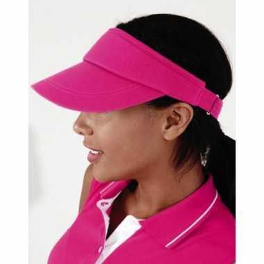 Goedkoop sportieve zonneklep fuchsia roze carnavalskleding