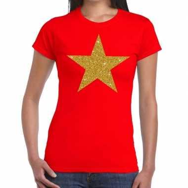 Goedkoop ster goud glitter fun t shirt rood dames carnavalskleding