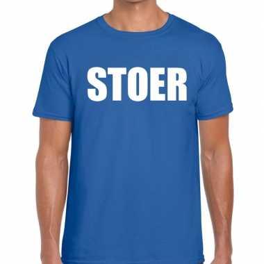 Goedkoop stoer tekst t shirt blauw heren carnavalskleding