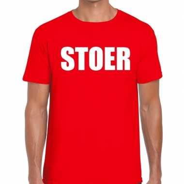 Goedkoop stoer tekst t shirt rood heren carnavalskleding