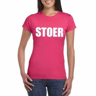 Goedkoop stoer tekst t shirt roze dames carnavalskleding
