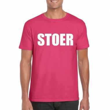 Goedkoop stoer tekst t shirt roze heren carnavalskleding