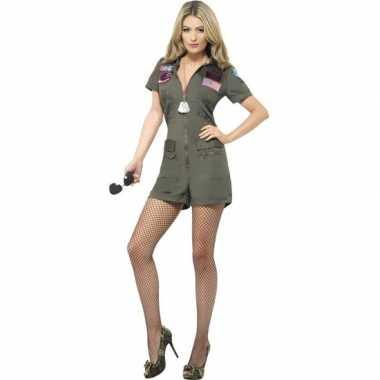 Goedkoop straaljager piloten top gun carnavalskleding kort dames