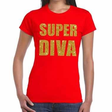 Goedkoop super diva glitter tekst t shirt rood dames carnavalskleding