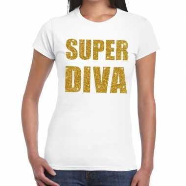 Goedkoop super diva glitter tekst t shirt wit dames carnavalskleding
