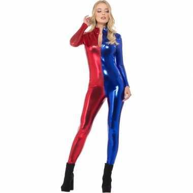 Goedkoop superheld catsuit rood/blauw metallic carnavalskleding