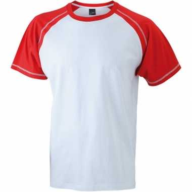 Goedkoop t shirts heren kleuren wit rood carnavalskleding