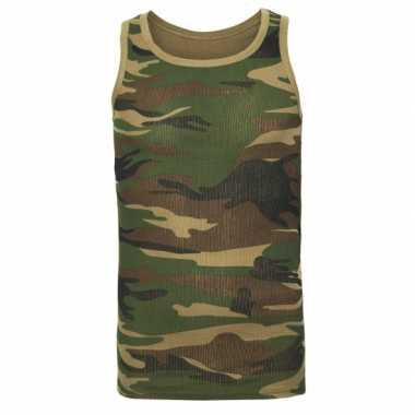 Goedkoop tanktop camouflage print heren carnavalskleding
