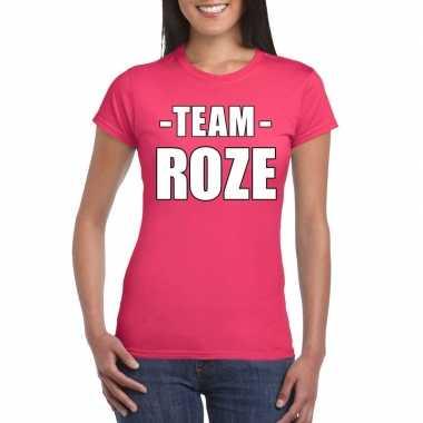 Goedkoop team shirt roze dames bedrijfsuitje carnavalskleding