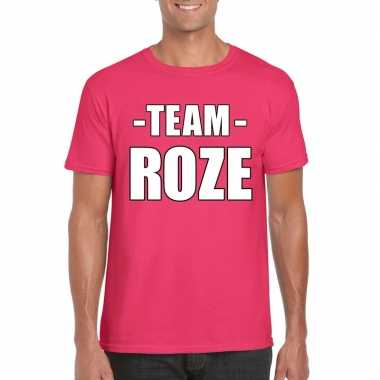 Goedkoop team shirt roze heren bedrijfsuitje carnavalskleding