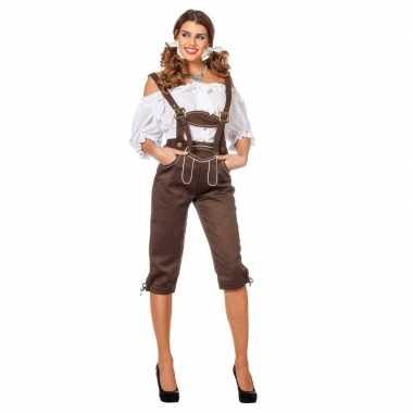 Goedkoop tiroler carnavalskleding lederhose bruin dames